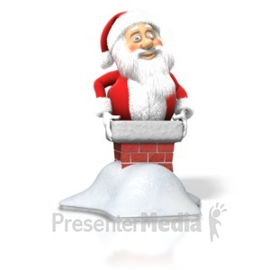 ID# 1550 - Santa Stuck Chimney - Presentation Clipart