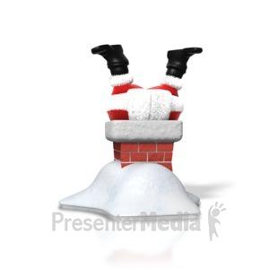 ID# 1553 - Santa Upside Down Chimney - Presentation Clipart