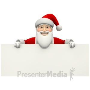 ID# 1554 - Santa Holding Sign  - Presentation Clipart