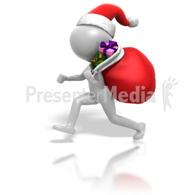 christmas stickman gifts in bag   holiday seasonal events