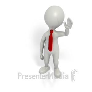ID# 1562 - Business Grey Stick Guy Wave - Presentation Clipart