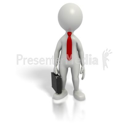 Business Grey Stick Guy Briefcase PowerPoint Clip Art