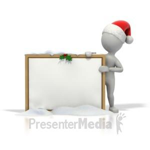ID# 1567 - Christmas Stick Guy Blank Snow Board - Presentation Clipart