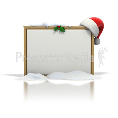 Christmas Seasonal Blank Snow Board PowerPoint Clip Art