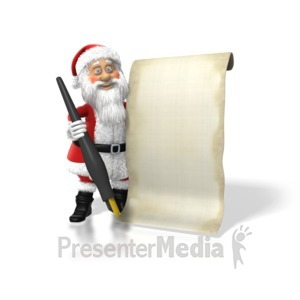 ID# 1569 - Santa With His List - Presentation Clipart