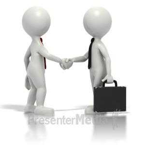 ID# 1570 - Business Grey Stickmen Shake Hands - Presentation Clipart
