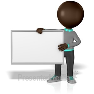 ID# 1571 - Grey Stick Guy Blank Board - Presentation Clipart