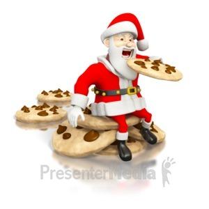 ID# 1574 - Santa Eating Cookies - Presentation Clipart