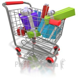 ID# 1586 - Shopping Cart Presents - Presentation Clipart