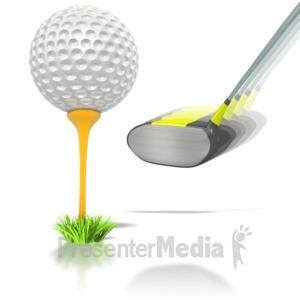 ID# 1600 - Golf Ball Club Swing - Presentation Clipart
