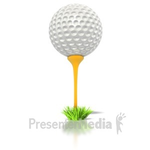 ID# 1601 - Golf Ball on Tee - Presentation Clipart