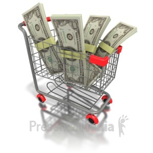 ID# 1605 - Shopping Cart Money - Presentation Clipart