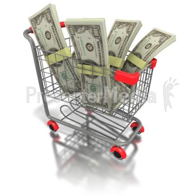 Shopping Cart Money PowerPoint Clip Art