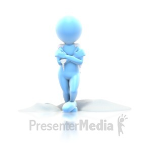 ID# 1607 - Cold Stick Guy Standing Snow - Presentation Clipart