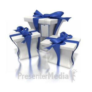 ID# 1608 - Blue White Presents - Presentation Clipart