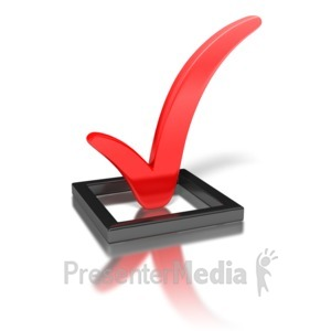 ID# 1619 - Red Check Mark In Box - Presentation Clipart
