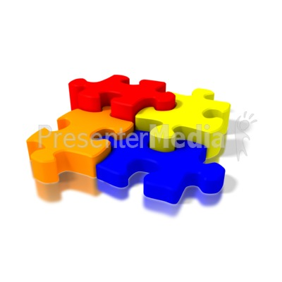 Four Colorful Puzzle Pieces PowerPoint Clip Art