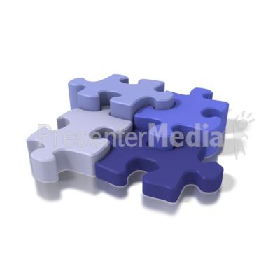 Four Blue Puzzle Pieces PowerPoint Clip Art