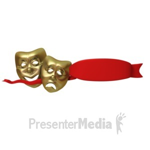 ID# 1634 - Theater Masks With Red Ribbon - Presentation Clipart