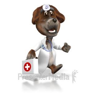 ID# 1641 - Cartoon Dog Vet with First Aid Kit - Presentation Clipart