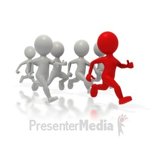 ID# 1646 - Stick Figures Leading The Race - Presentation Clipart