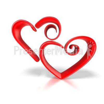 Stylized Hearts PowerPoint Clip Art