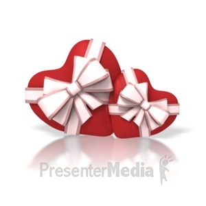 ID# 1668 - Two Valentine Hearts With Ribbons - Presentation Clipart