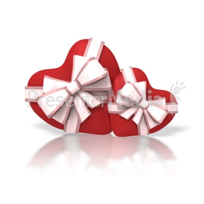 two valentine hearts with ribbons powerpoint clip art