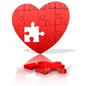 ID# 1674 - Heart Puzzle Piece Missing - Presentation Clipart