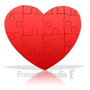 ID# 1675 - Standing Heart Puzzle Pieces - Presentation Clipart