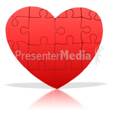 Standing Heart Puzzle Pieces PowerPoint Clip Art