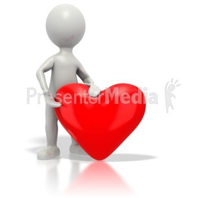 Stickman Giving Red Heart PowerPoint Clip Art