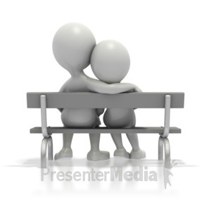 ID# 1681 - Couple Sitting Together On Bench - Presentation Clipart