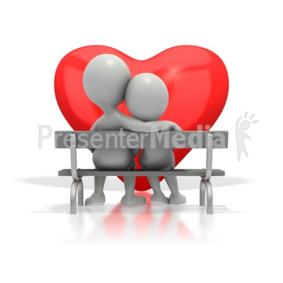 Couple Sitting On Bench By Heart PowerPoint Clip Art