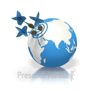 ID# 1696 - Blue Earth Three Darts Target Europe - Presentation Clipart