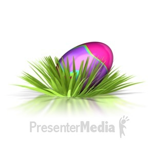 ID# 1701 - Retro Easter Egg In Grass  - Presentation Clipart