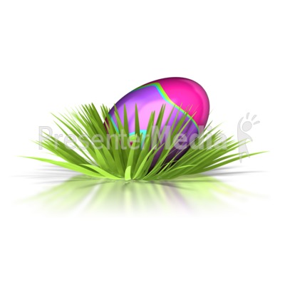 Retro Easter Egg In Grass  PowerPoint Clip Art