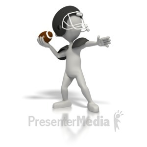 ID# 1712 - Stick Figure Quarterback Throw Football - Presentation Clipart