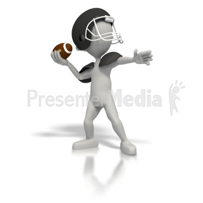 Stick Figure Quarterback Throw Football PowerPoint Clip Art