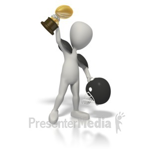 ID# 1715 - Football Champion with Trophy - Presentation Clipart