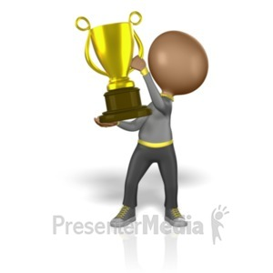 ID# 1719 - Stick Figure Holding Big Trophy - Presentation Clipart