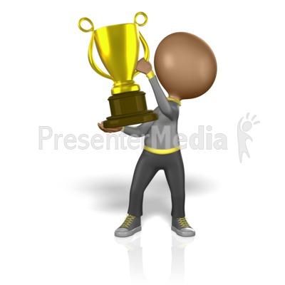 Stick Figure Holding Big Trophy PowerPoint Clip Art