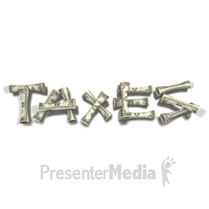 ID# 1724 - Spelling Taxes with Money - Presentation Clipart