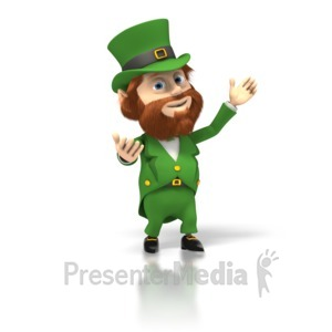 ID# 1728 - Happy Leprechaun Presents - Presentation Clipart