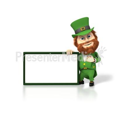 Happy Leprechaun With Sign PowerPoint Clip Art