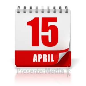 ID# 1743 - Office Calendar April 15 Tax Day - Presentation Clipart