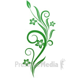 ID# 1752 - Vines Swirl Green Flowers - Presentation Clipart
