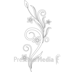 ID# 1755 - Vines Swirl White Flowers - Presentation Clipart