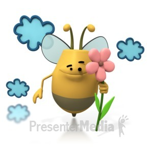ID# 1760 - Bee Flying Holding Flower - Presentation Clipart