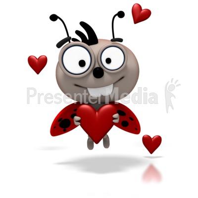 Ladybug - Love Bug Flying Holding Heart PowerPoint Clip Art